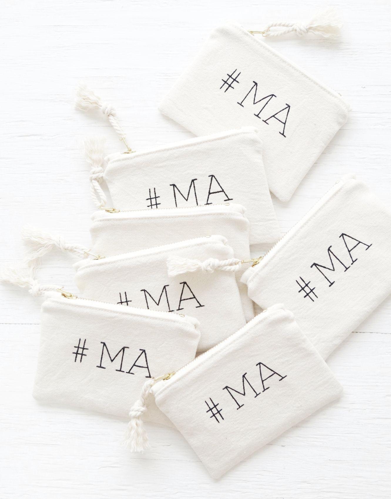 Small bridesmaid gift. Personalized makeup bag. Monogram cosmetic ...