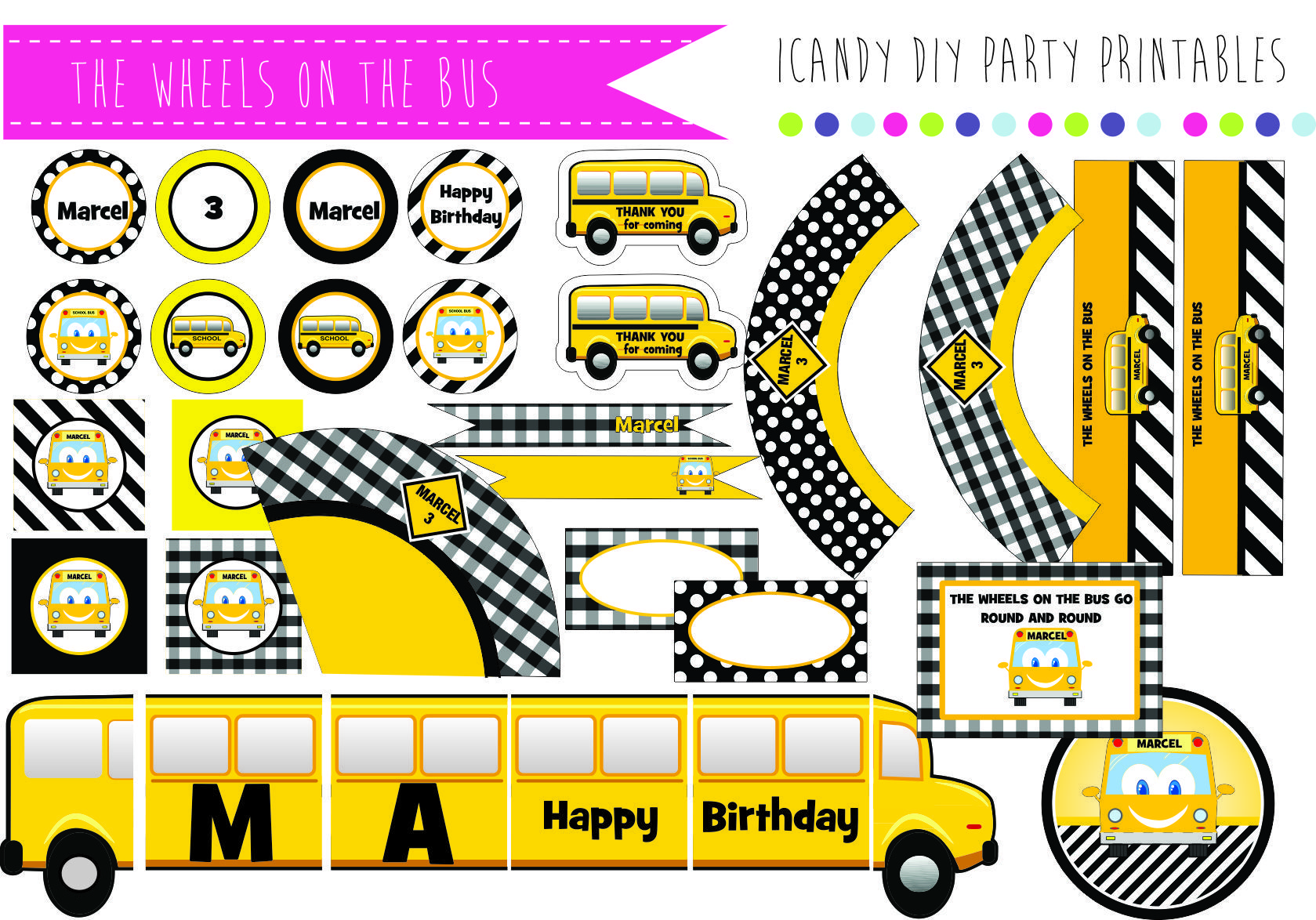 Schoolbus Party Printables The Wheels On The Bus S