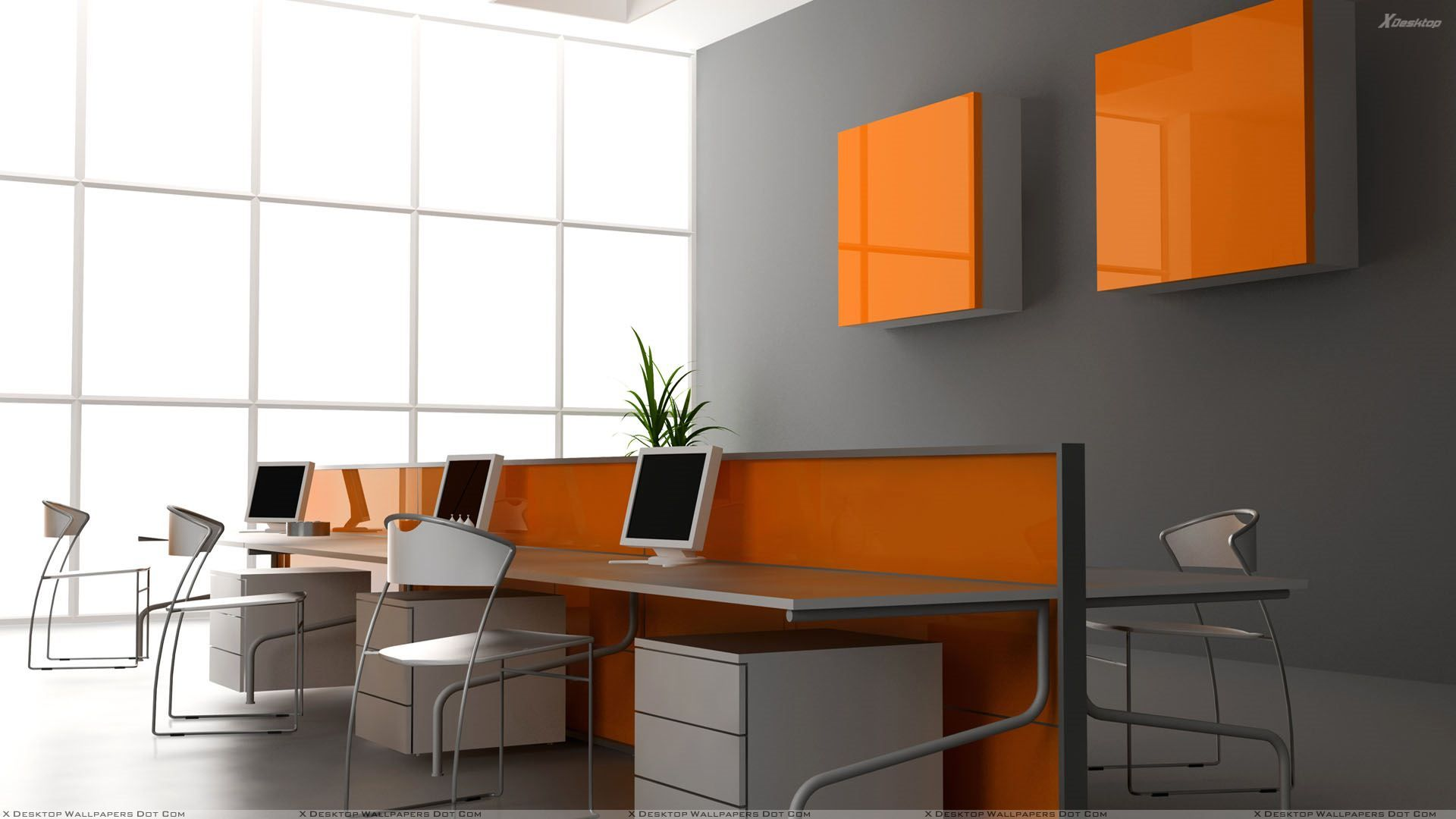 Color art office interiors - Marvellous Modern Office Interior Design Applying Grey Also White And Orange Room Color Furnished With Elongated Desk Completed With Computer Sets And Chair