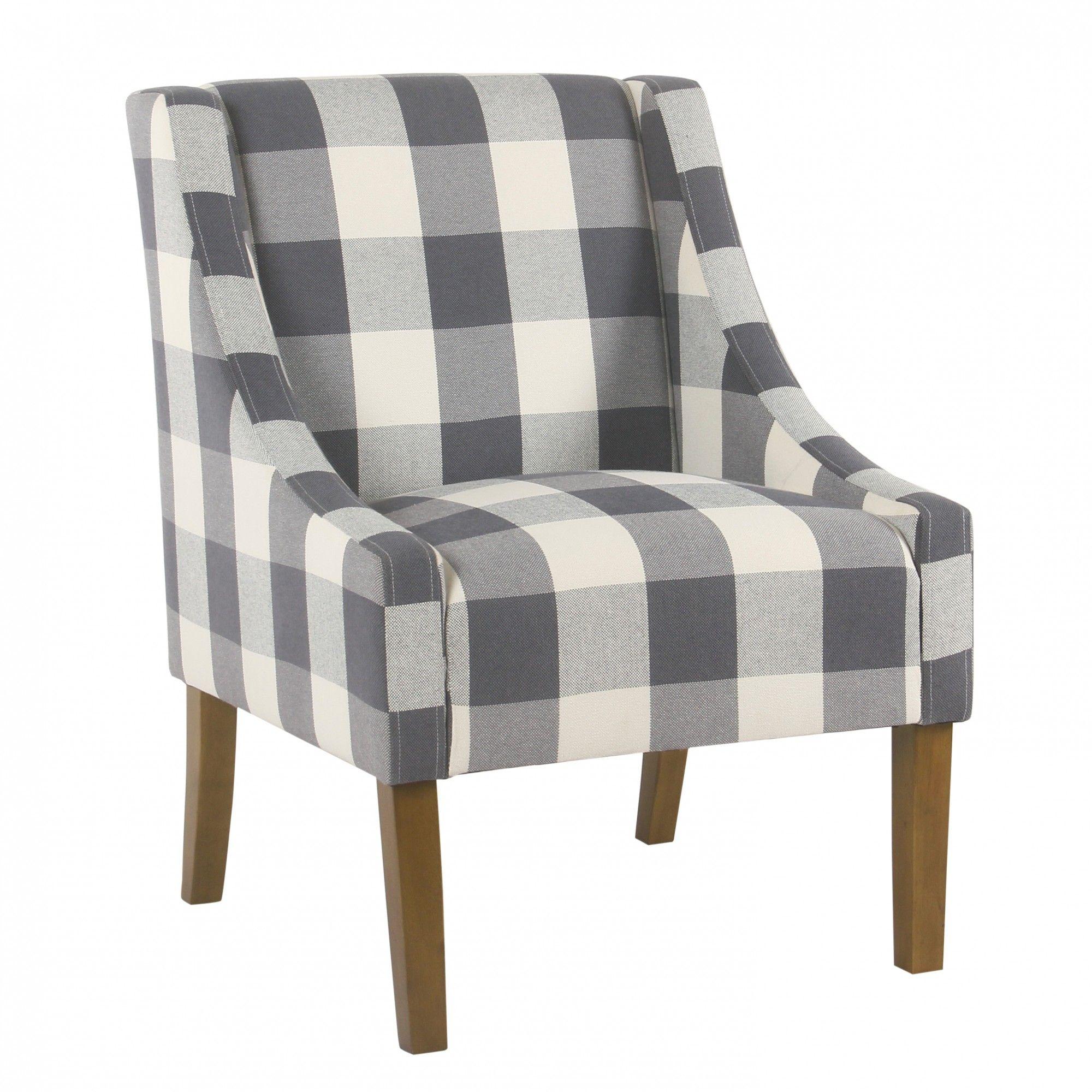 Modern Swoop Accent Chair   Blue Plaid