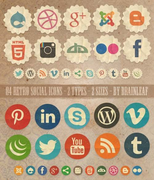 20 Sets Of Free Vintage Style Icons Social Media Icons Free Social Icons Social Media Icons