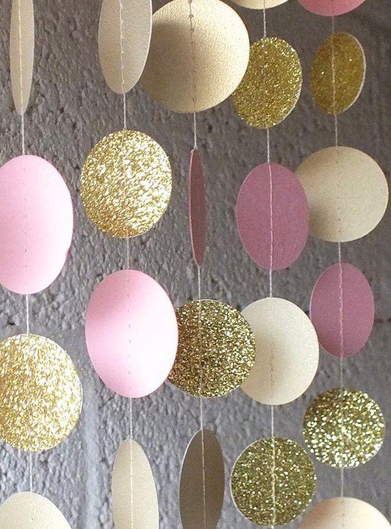 Garland In Cream Blush And Gold Double Sided Bridal Shower Baby