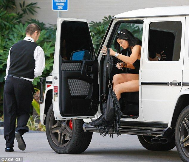 kylie jenner rocks leather dress on night out with sofia richie mercedes benz cars and. Black Bedroom Furniture Sets. Home Design Ideas