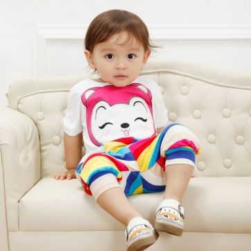 Summer wear baby clothes sets round collar t shirt with rainbow pants $15.75 summer baby clothing set