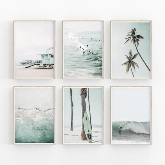 Beach Print Set of 6, Surfing Print, Printable Art