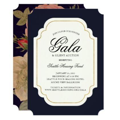french navy vintage flowers gala or party card invitations
