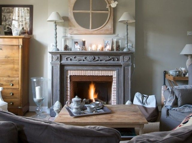Decocheminee18 maison for the home pinterest bleu gris chemin e et gris - Decosalon cheminee ...