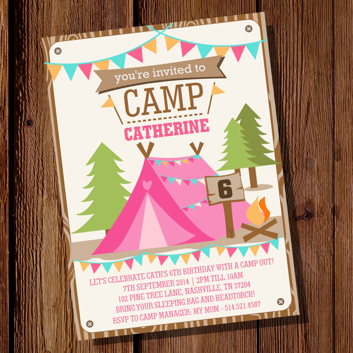 camping tent party invitation for a girl camp out glamping