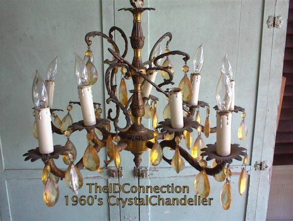 1970 S Crystal Chandelier Spanish Gold Made In By Theidconnection 275 00 Crystal Chandelier Chandelier Leaf Design