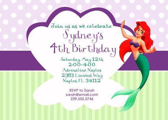 Simple and sweet little mermaidprincess ariel birthday invitation simple and sweet little mermaidprincess ariel birthday invitation filmwisefo Choice Image