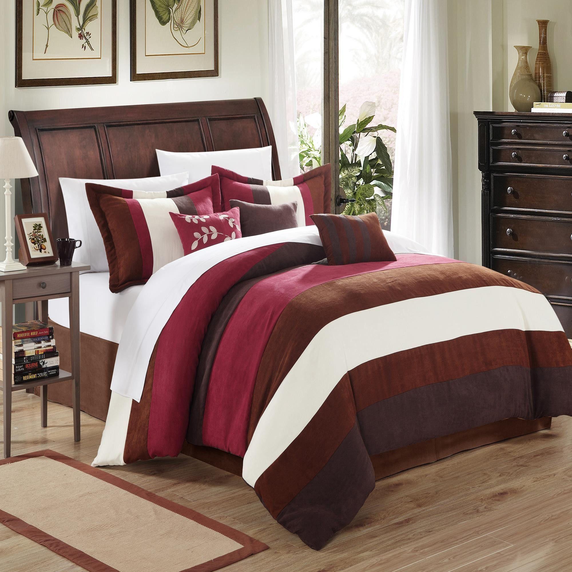 Cathy Microsuede Burgundy, Brown, Ivory 11 Piece Comforter