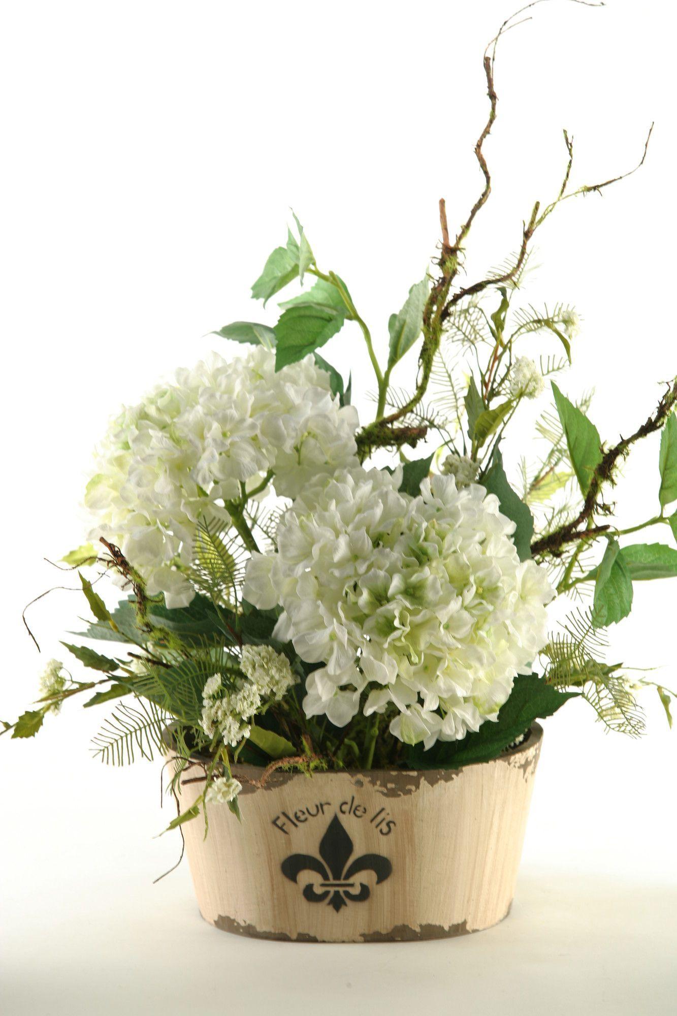 D W Silks Hydrangeas In Oblong Fleur De Lis Planter Hydrangea Arrangements Rustic Flower Arrangements Artificial Flower Arrangements