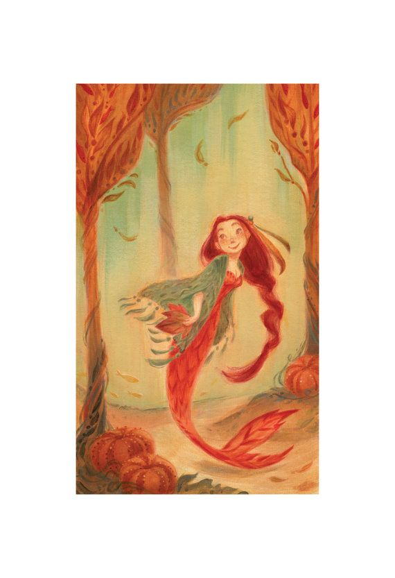 Autumn Mermaid: Art Print por CaseyRobinArt en Etsy