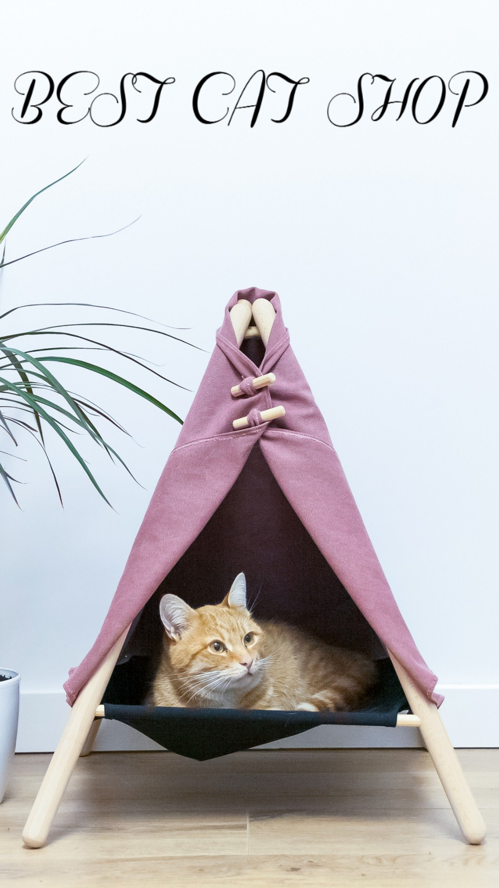 Cat House Tent House Red Cat Wooden Cat House Wooden Furniture Cat Teepee Modern Cat Furniture Cat House