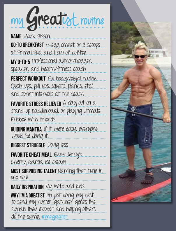 My greatist routine mark sisson mark sisson routine and exercises fitness inspiration malvernweather Gallery