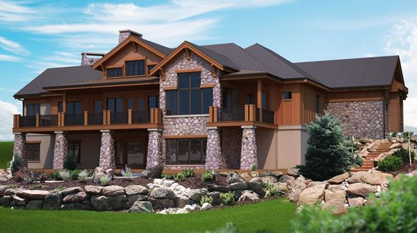 Mountain View Plans For A Hillside Home With Walk Out Lower Mountain House Plans Basement House Plans Rustic House Plans