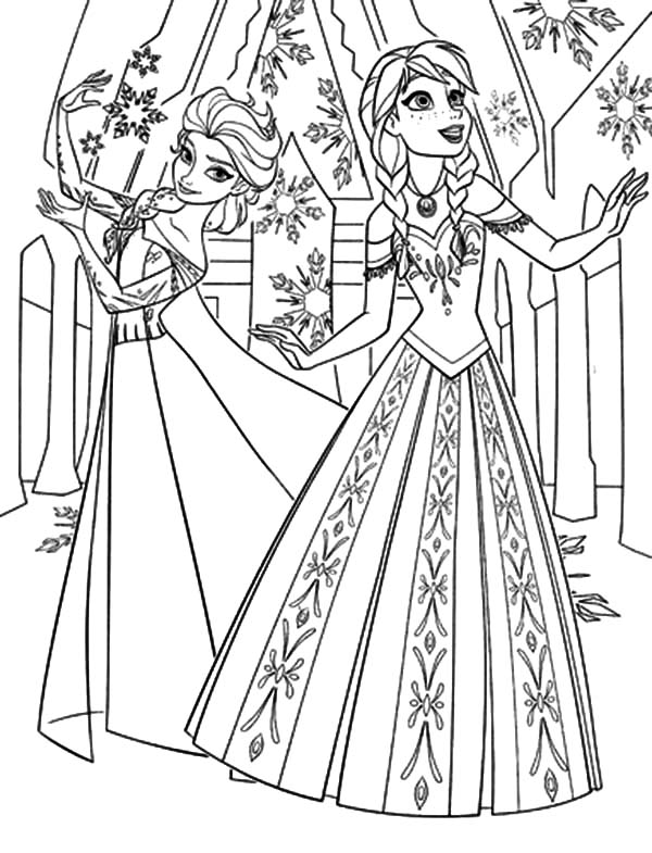 Walt Disney Anna Is Amazed With Elsa Ice Castle Coloring Pages Coloring Sky Elsa Coloring Pages Frozen Coloring Frozen Coloring Pages