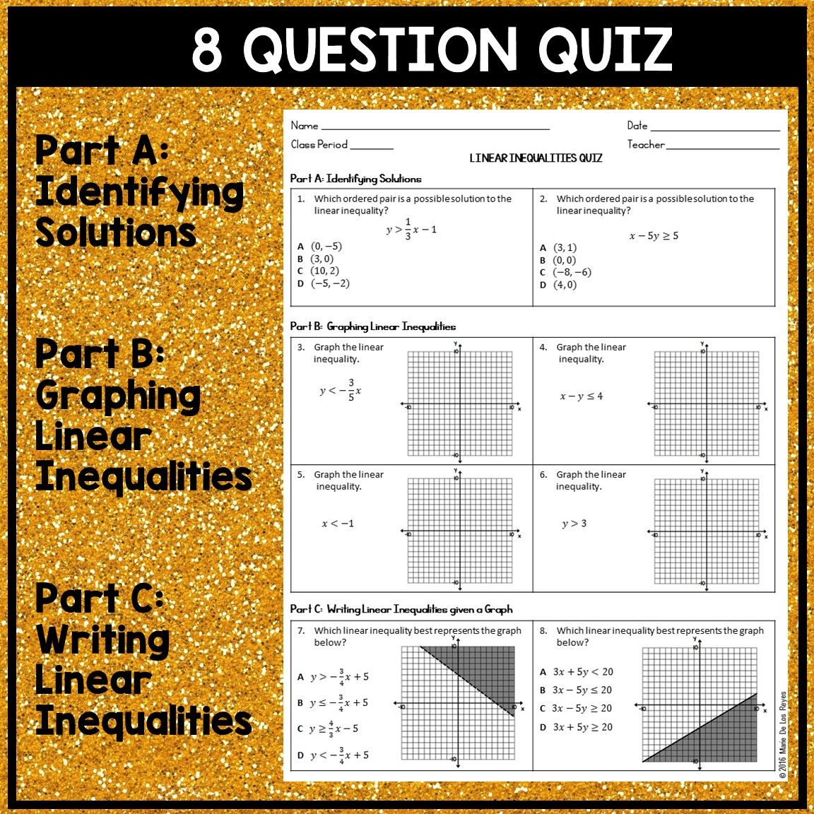 Linear inequalities quiz linear inequalities graphing