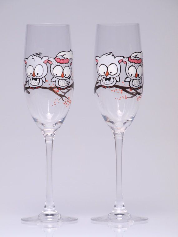 Hand Painted Wedding Toasting Flutes Set Of 2 By Pastinshs On Etsy 49 00 Owls