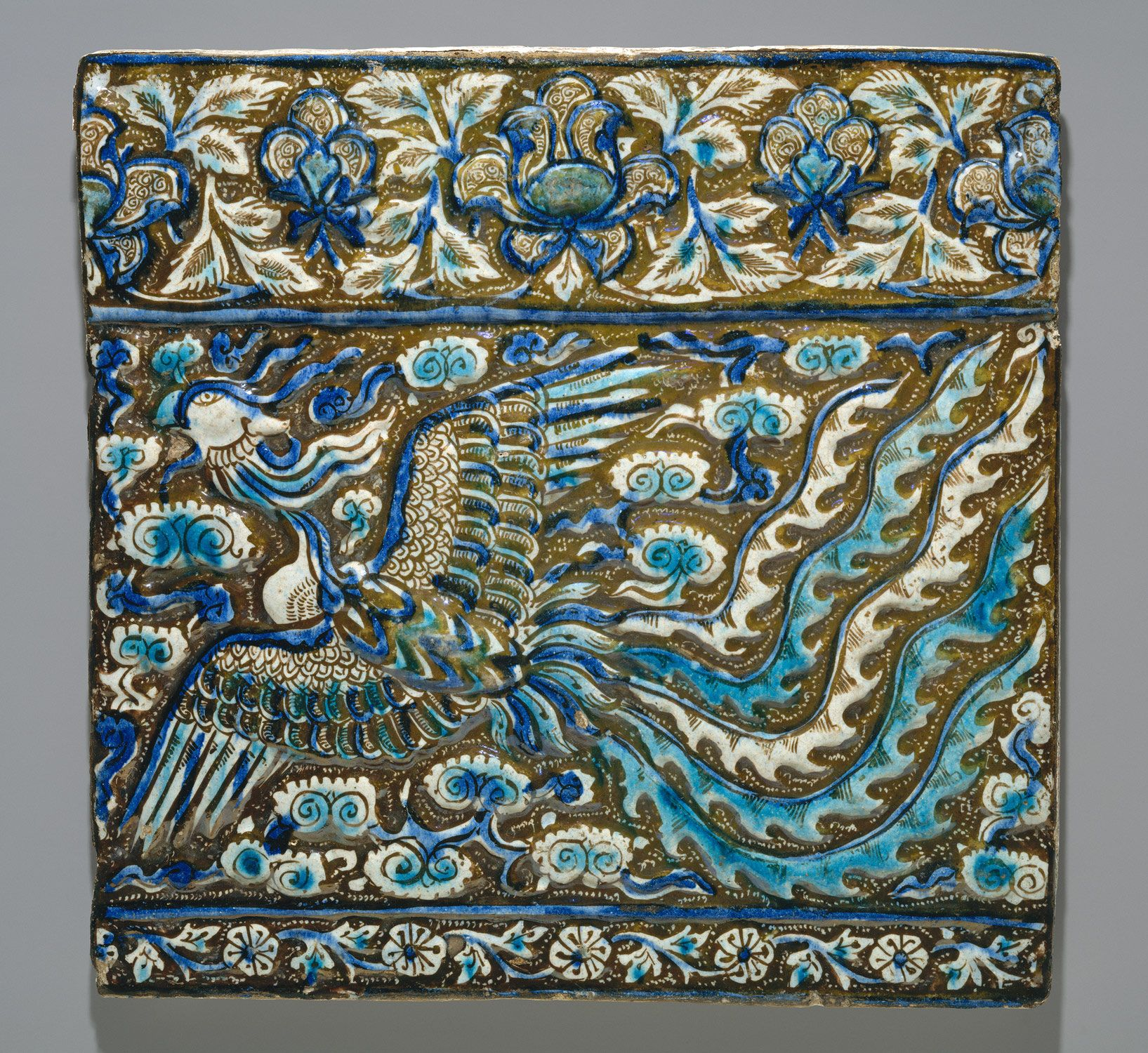 Tile with Image of Simurgh (Phoenix) Object Name: Tile from a ...