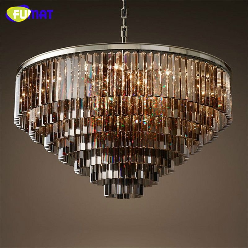 Rh Lustre K9 Crystal Chandelier North European Antique Metal Round Suspension Lamp Amber X2f Smoky Gray X2f Clea Ceiling Lamp Chandelier Dining Room Lighting