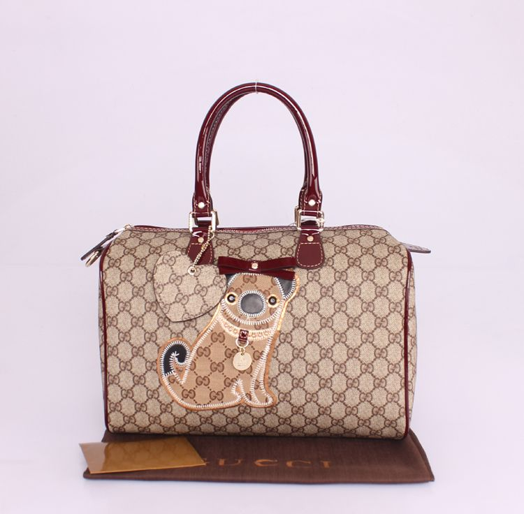 Gucci GG boston tote handbag bag navy blue purse dog print