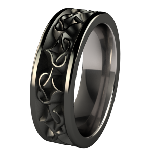Amore Black Diamond Treated Anium Wedding Band