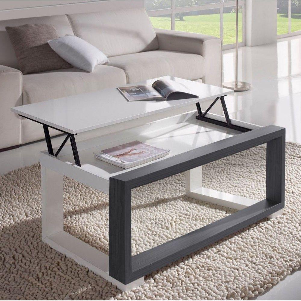 Redoutable Table De Salon Blanche Et Grise D Coration Fran Aise  # Meuble Ikea Salon Avec Porte Relevable