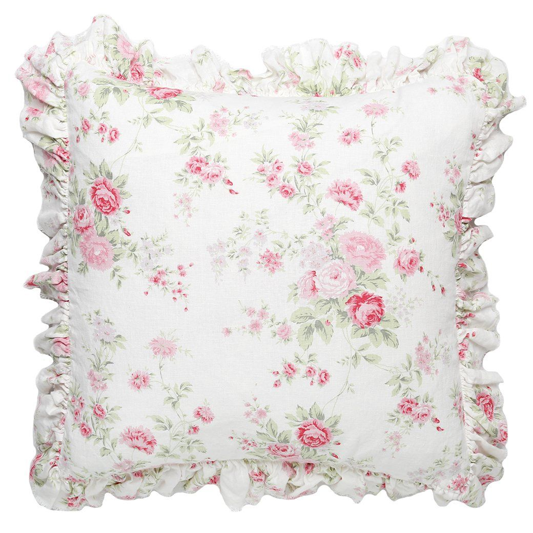 Couch Pillow Sham Case Chic Cushion 2 x Shabby Pink Roses Wildflower Euro Bed