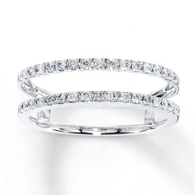 This Elegant Enhancer Ring Features A Row Of Fiery Round Diamonds Above And Below Your Solitaire RingsDiamond
