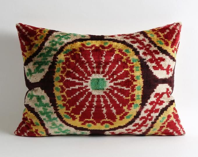 12x18 Red boho decorative silk velvet ikat pillow cover // red white and blue decor // designer pillows for couch // Red lumbar pillows