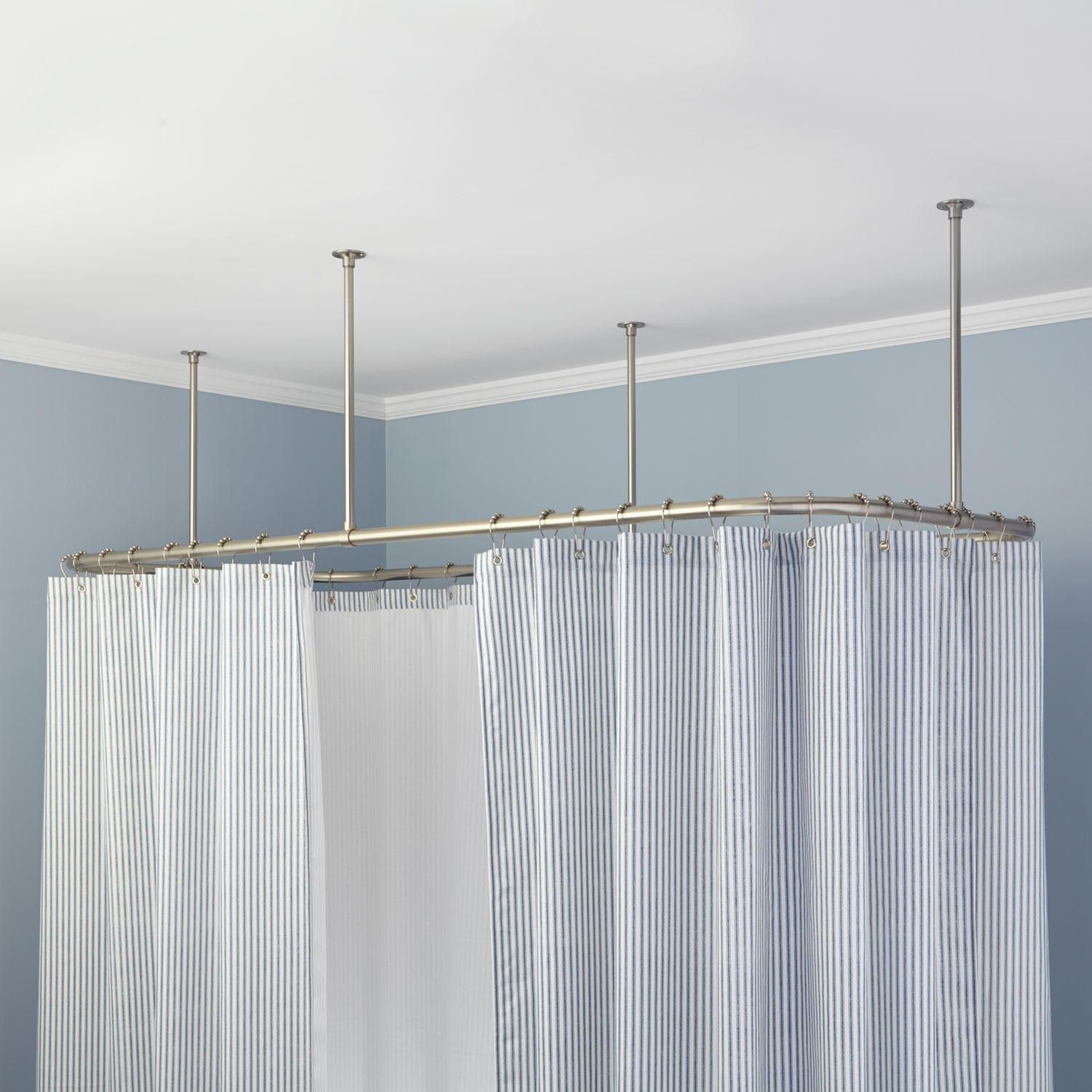 Ceiling Mounted Shower Curtain Rods rectangularceilingmountshowercurtainrod signature hardware 8393 by xevi.us