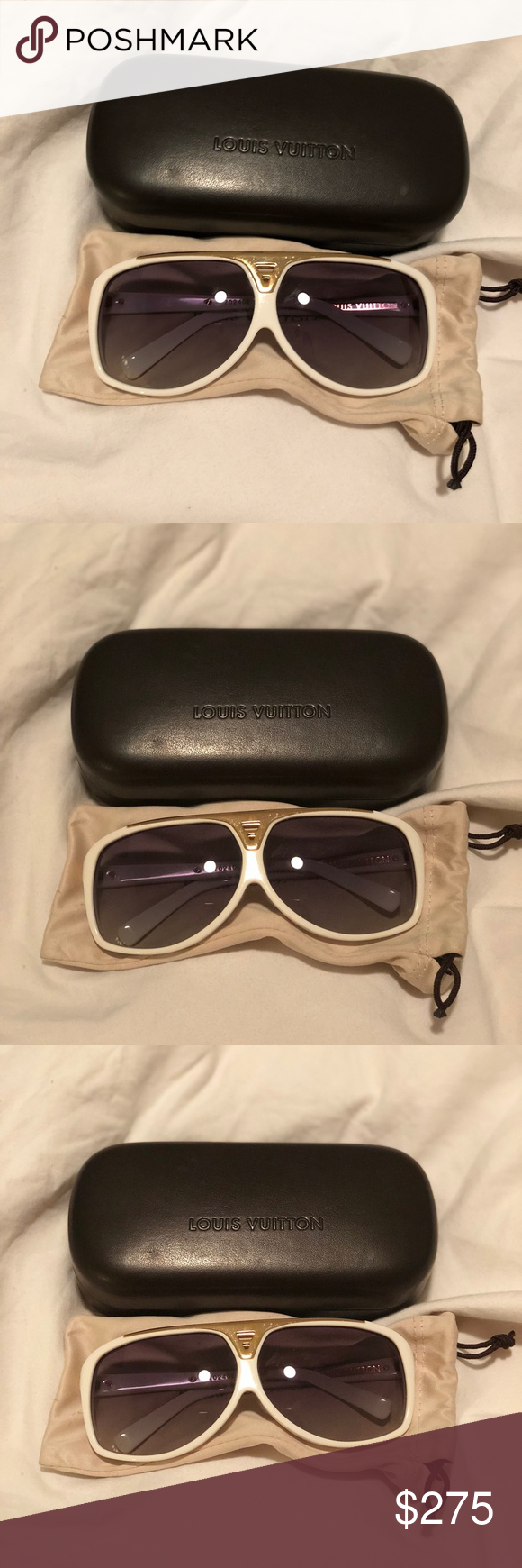 7ac3c83db8 Authentic Louis Vuitton Sunglasses Evidence Authentic Louis Vuitton  Sunglasses Evidence white in good used condition. Very light scratches.