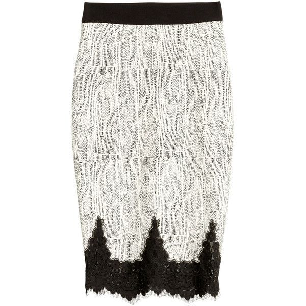 Pencil Skirt with Lace $34.99 ($35) ❤ liked on Polyvore featuring skirts, elastic waist skirt, white lace skirt, white pencil skirt, knee length pencil skirt and lace pencil skirt