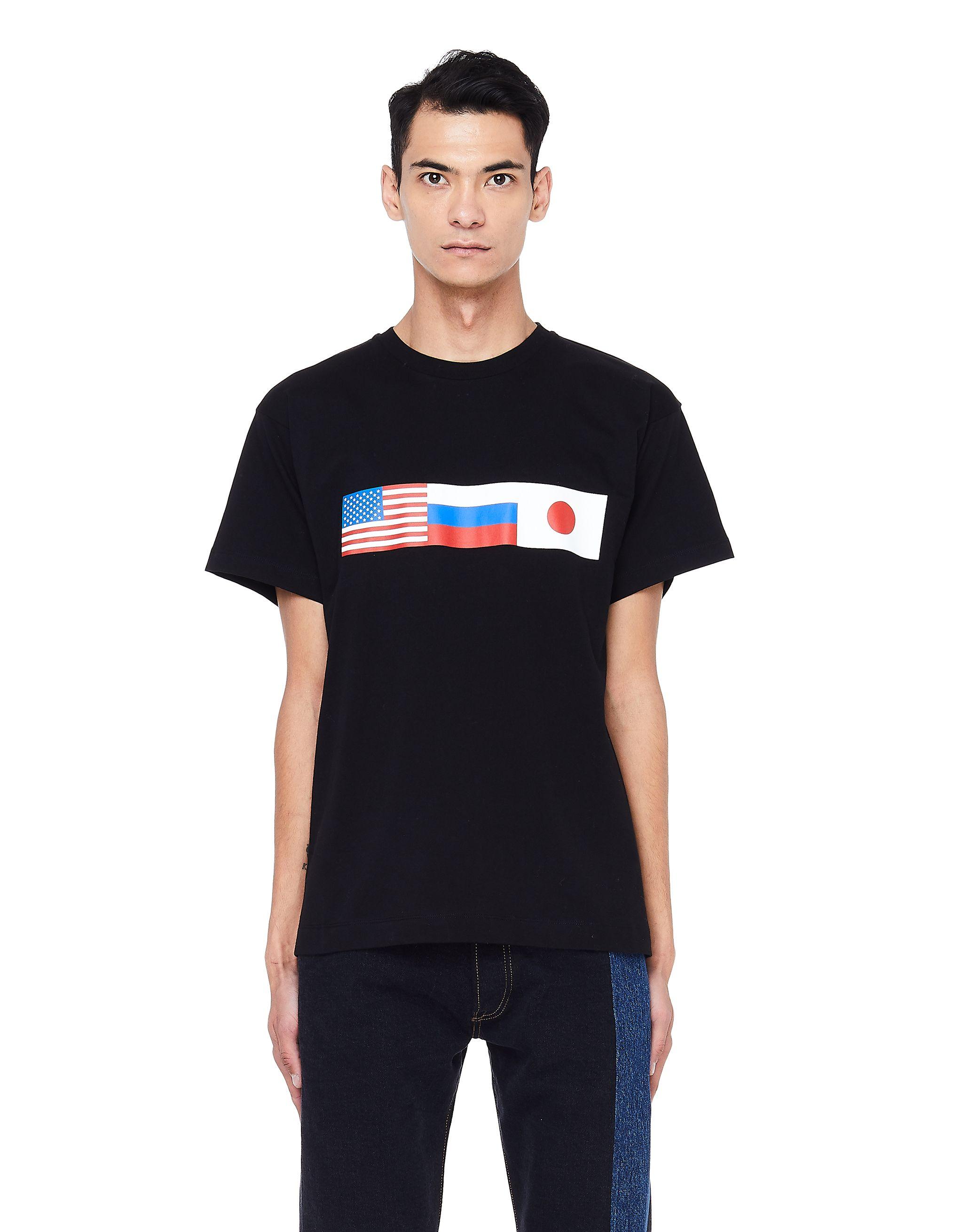 3e1f2dcda GOSHA RUBCHINSKIY BLACK COTTON FLAG T-SHIRT.  gosharubchinskiy  cloth