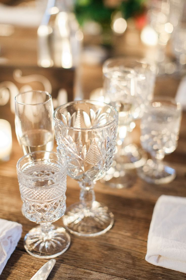 Assorted goblets for water at place settings Wedding