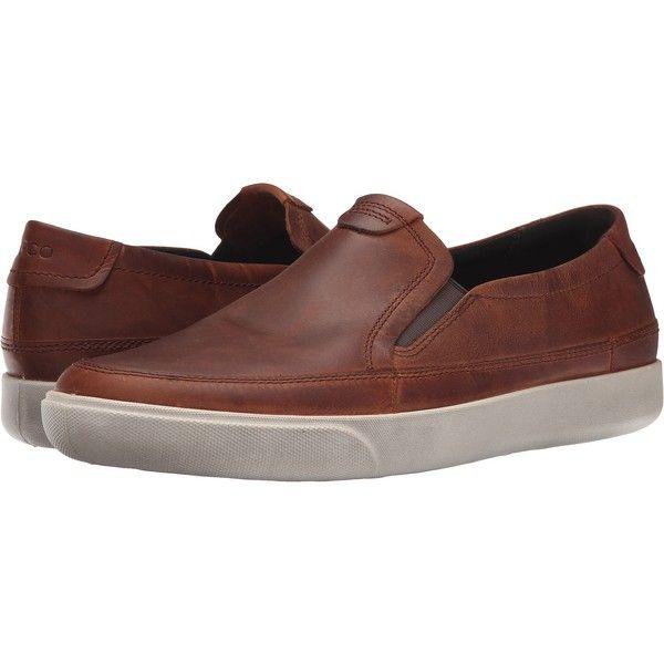 Mens cognac dress shoes, Leather slip