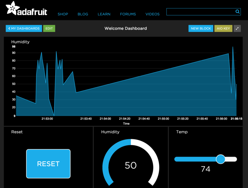 Adafruit IO Basics: Dashboards Overview Watch and control