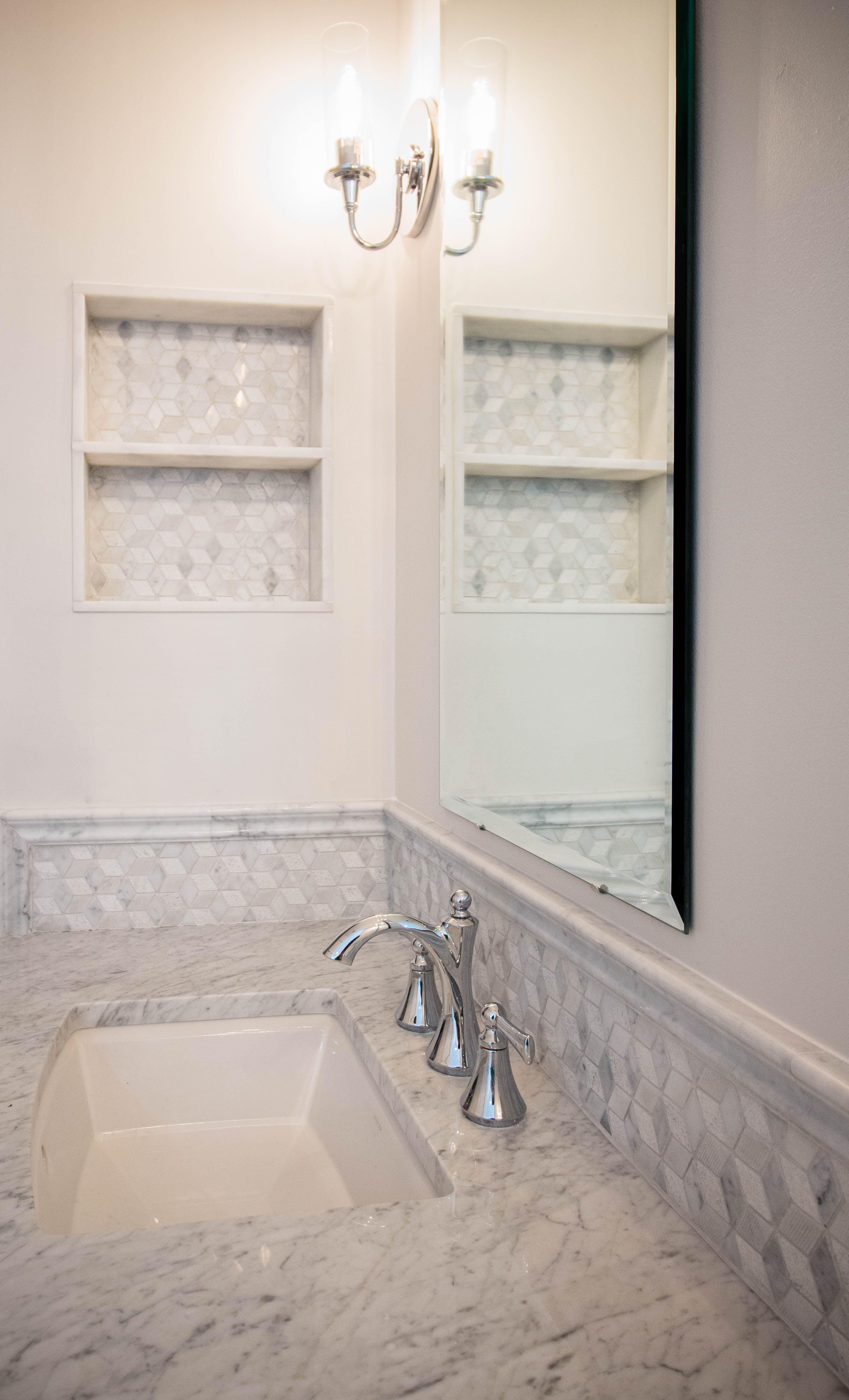 Elegant Master Bathroom Remodel Carrara Marble Geometric Mosaic