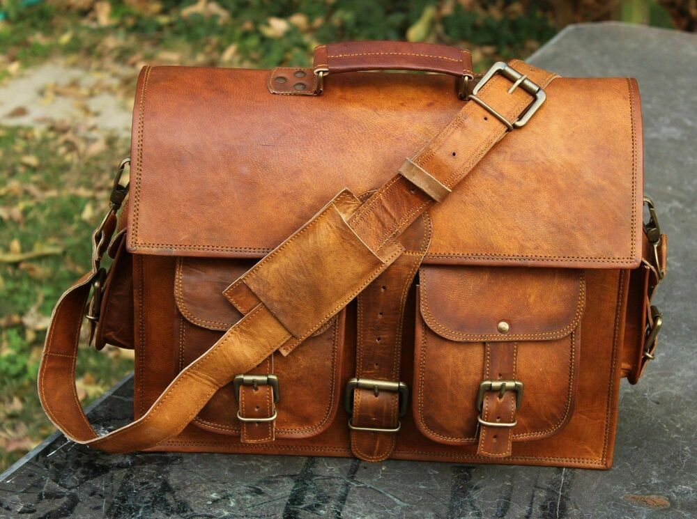 Men/'s Genuine Vintage Leather Messenger Laptop Briefcase Satchel Women Bag Brown