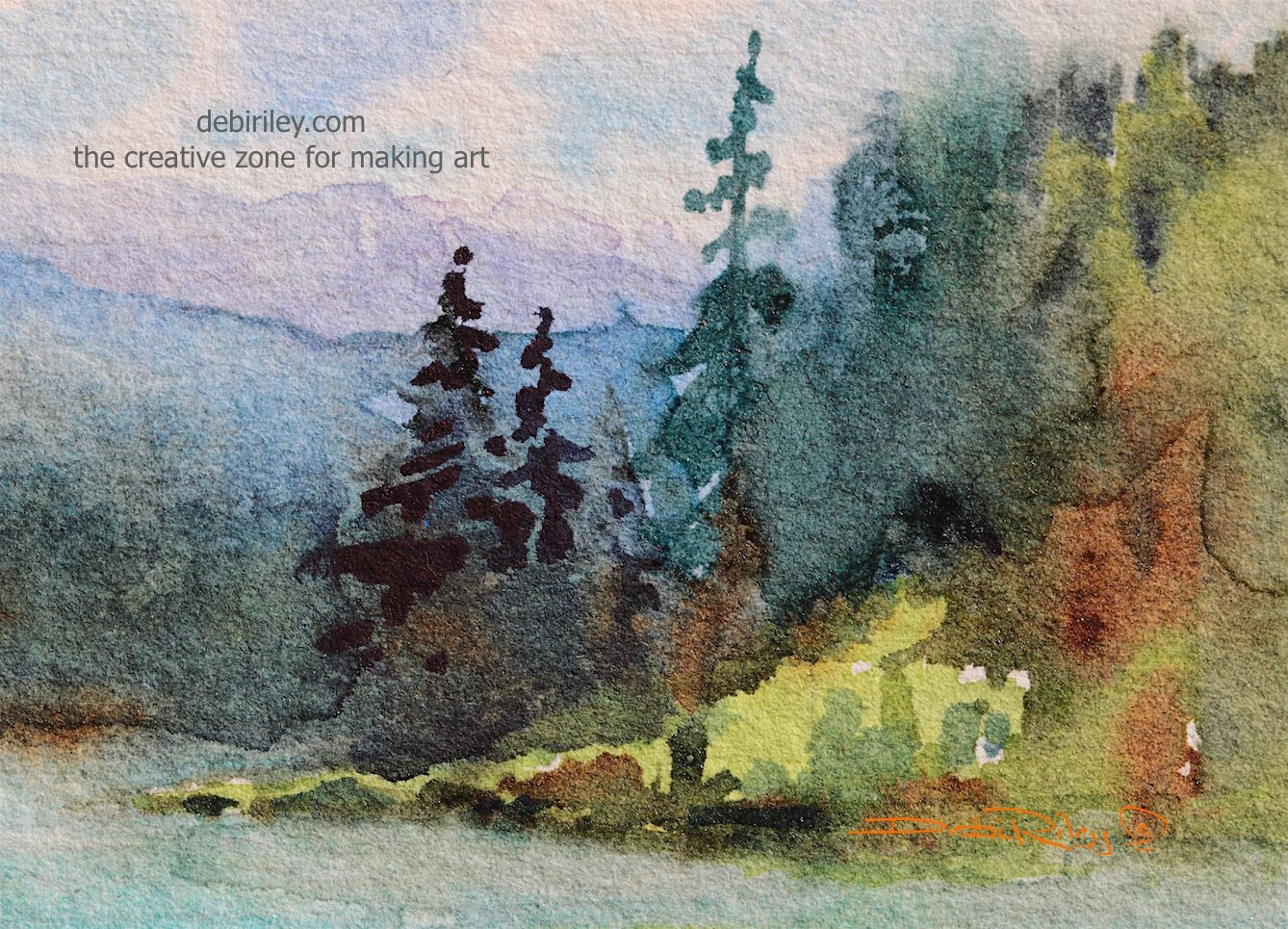 DEBI RILEY WATERCOLOR landscape moody, mist rising morning along the inland shores of…