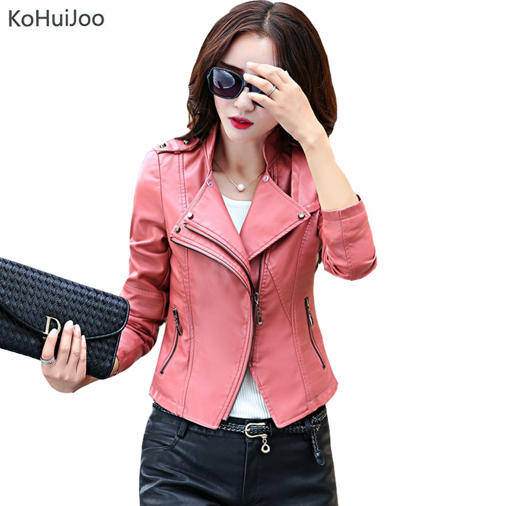 >> Click to Buy << KoHuiJoo Spring Fall Stand Collar Female Faux Leather Jackets WomenSim Zipper Slim Plus Size Leather Coats Lady M-5XL Red Black #Affiliate