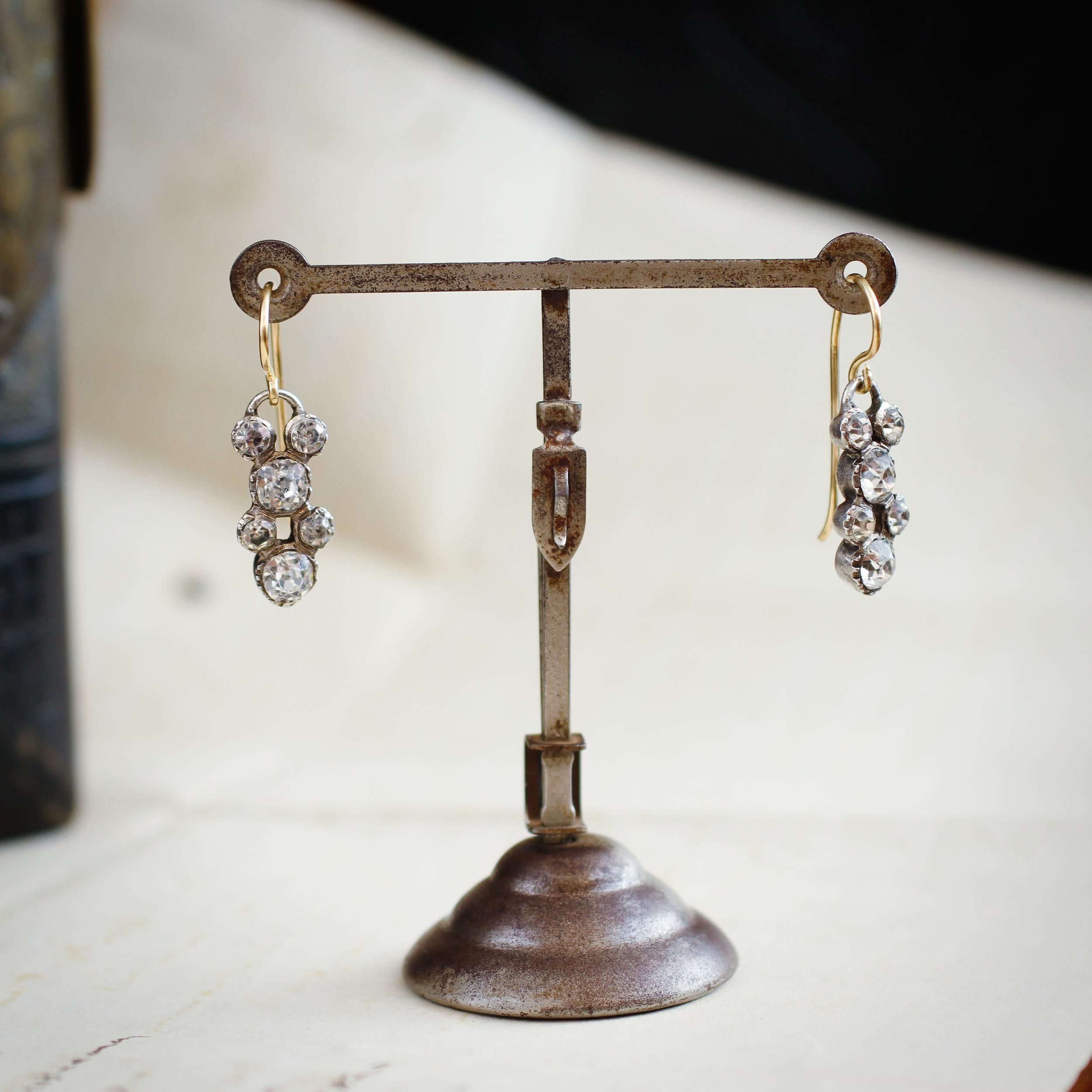 Romantic Antique Beauty!! Old Paste Drop Earrings (With