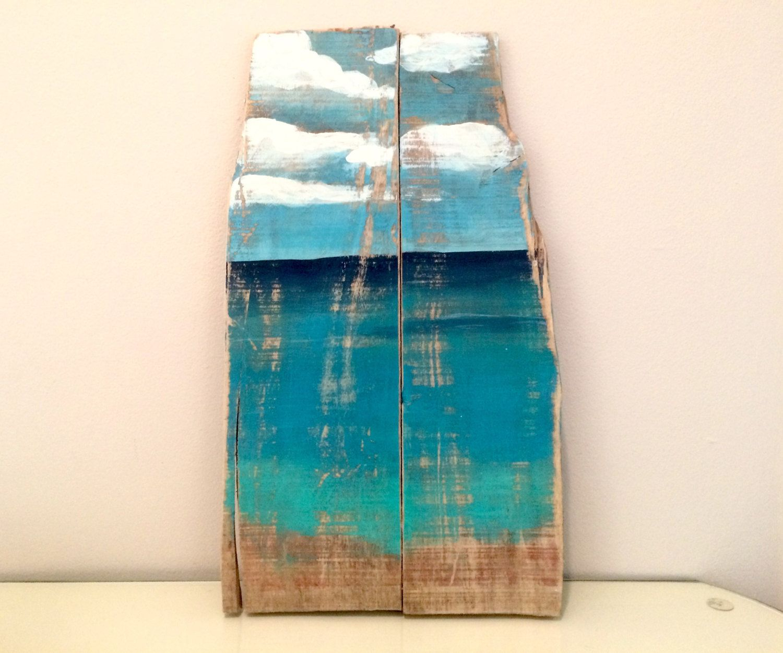 Reclaimed Wood Ocean Painting Wall Art For Beach House Shabby Chic