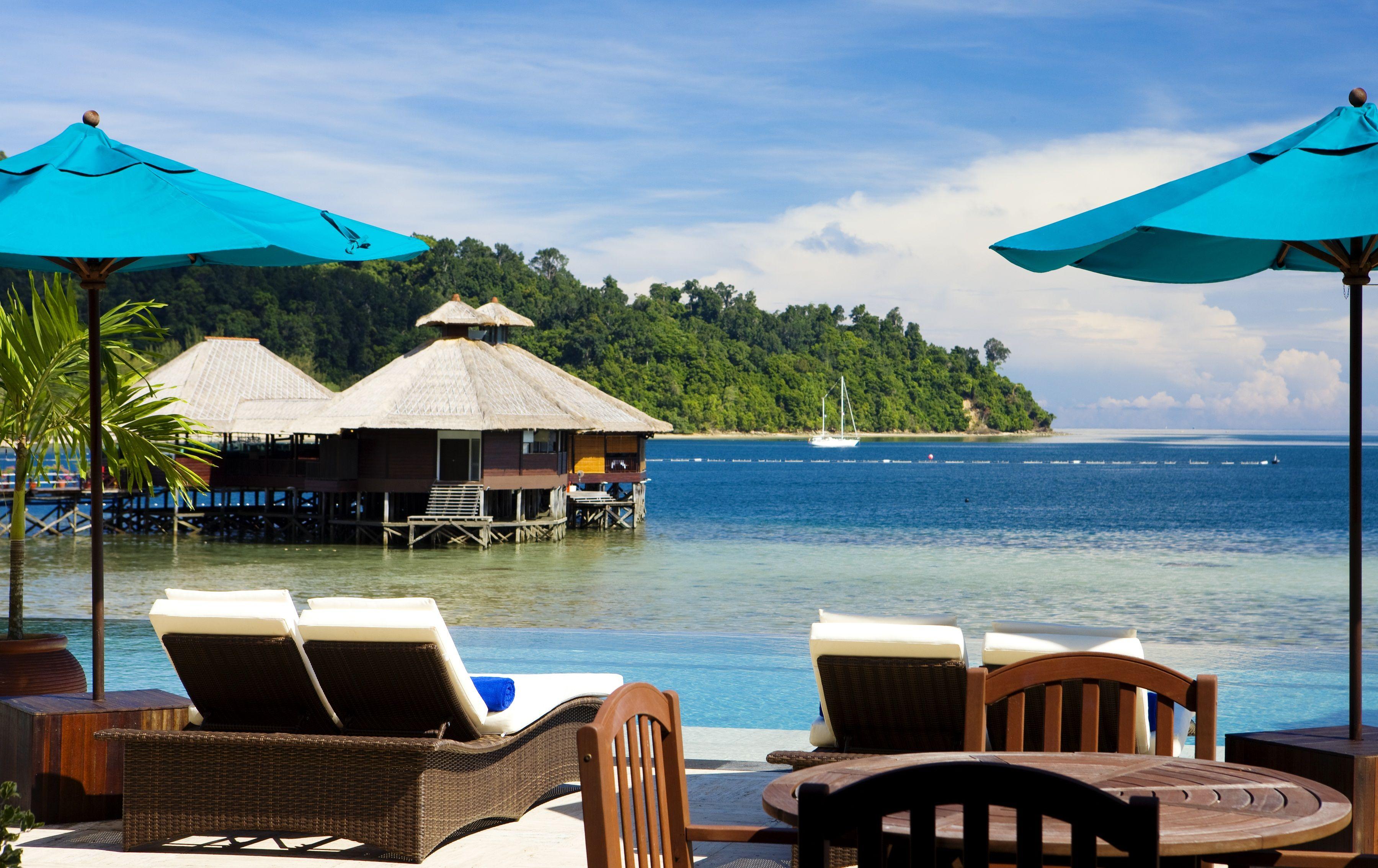 Relax Poolside At Gaya Island Resort, Sabah, Malaysia So Beautiful