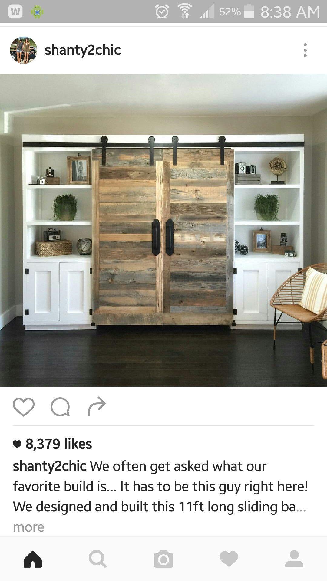 Hideaway desk with perfect barn doors