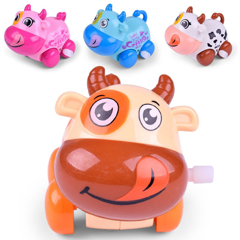 Educational car toys  Wind Up Toy Funny Baby Zoo Baby Cartton Cow Design Running Clockwork