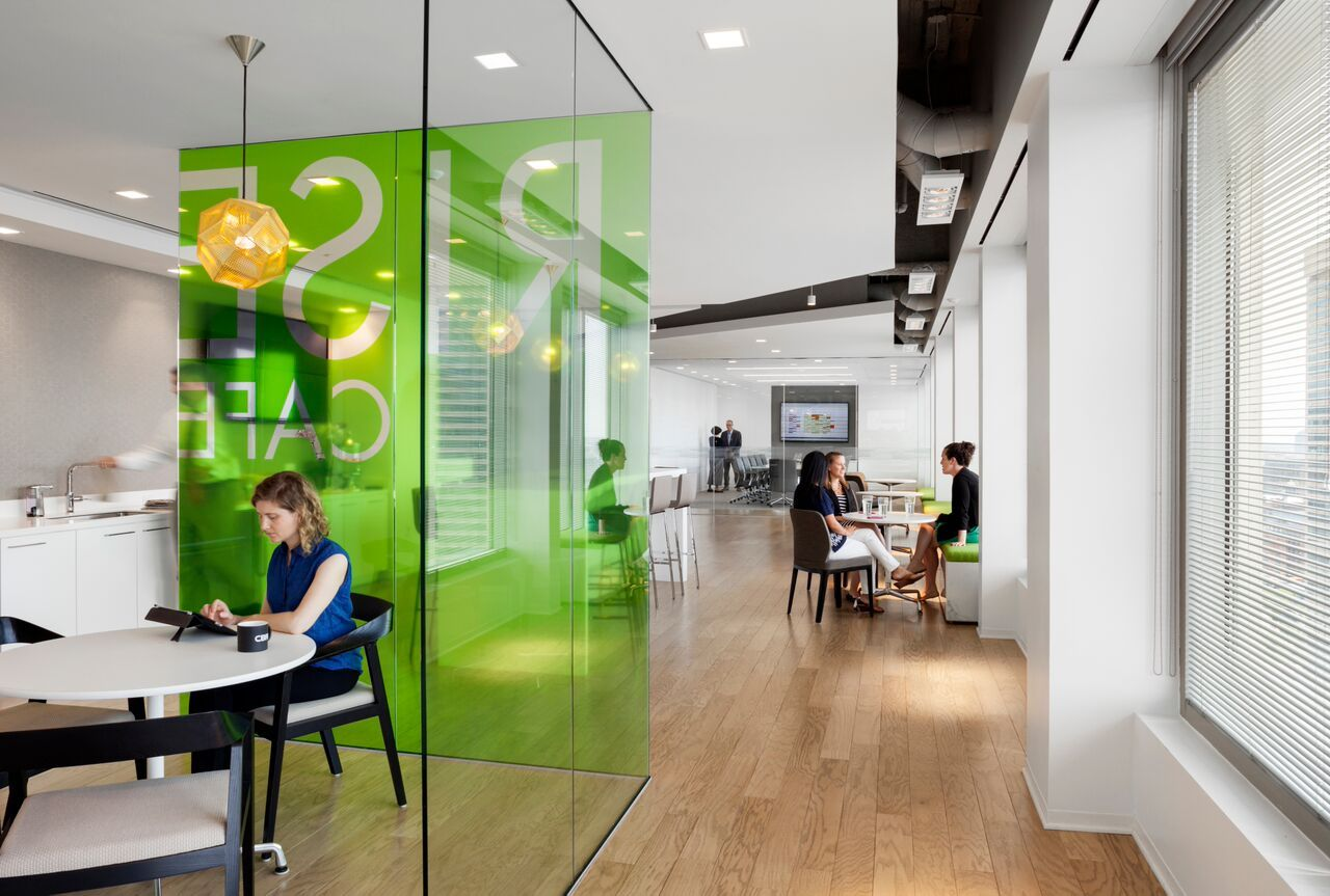 Coloured Glass Room Partitions In Break Out Spaces Google Search Glass Partition Wall Open Office Design Office Design