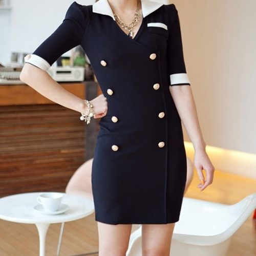 New Celebrity Women Lady Double Breasted Slim Fit Career OL Mini Dress s M L XL | eBay=30.91