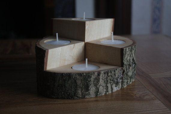 Wooden Tealight Holder 4 Piece set